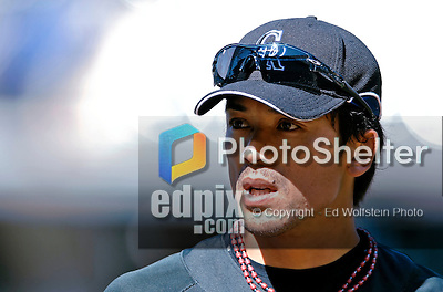 25 August 2007:  Colorado Rockies second baseman Kazuo Matsui awaits his turn in the batting cage prior to a game against the Washington Nationals at Coors Field in Denver, Colorado. The Rockies defeated the Nationals 5-1 in the second game of their 3-game series...Mandatory Photo Credit: Ed Wolfstein Photo