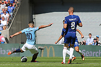 Sergio Aguero scores Manchester City's first goal during Chelsea vs Manchester City, FA Community Shield Football at Wembley Stadium on 5th August 2018