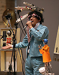 February 19, 2017, Chiba, Japan - A member of Japan's art unit Maywa Denki, Novmicih Tosa plays music with his unique instrument gadgets for their live performance at the Wonder Festival 2017 Winter at Chiba, suburban Tokyo on Sunday, February 19, 2017. Novmichi Tosa unveiled his new gadget Parabora at the plastic -model trade show.    (Photo by Yoshio Tsunoda/AFLO) LwX -ytd-