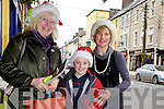 Shopping in Cahersiveen for Christmas were l-r; Mary O'Shea, Séamus Sugrue & Trish Walsh.