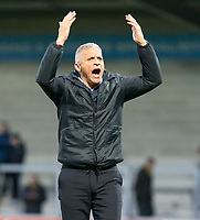 5th January 2020; Pirelli Stadium, Burton Upon Trent, Staffordshire, England; English FA Cup Football, Burton Albion versus Northampton Town; Manager of Northampton Town Keith Curle shouts to the supporters after the final whistle and wining the match 2-4 - Strictly Editorial Use Only. No use with unauthorized audio, video, data, fixture lists, club/league logos or 'live' services. Online in-match use limited to 120 images, no video emulation. No use in betting, games or single club/league/player publications