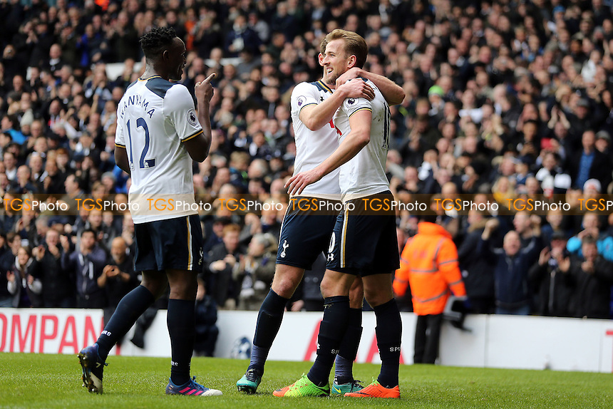 Harry Kane of Tottenham Hotspur is congratulated after scoring the second goal during Tottenham Hotspur vs Stoke City, Premier League Football at White Hart Lane on 26th February 2017