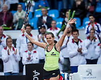 Bratislava, Slovenia, April 22, 2017,  FedCup: Slovakia-Netherlands, First rubber : Jana Cepelova  (SVK) takes the first rubber and cellebrates<br /> Photo: Tennisimages/Henk Koster
