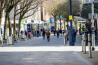 Pictured: General view of Swansea City Centre during the Covid-19 Coronavirus pandemic in Wales, UK, Swansea, Wales, UK. Monday 23 March 2020