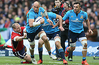 Sergio Parisse of Italy surges Past RBS 6Nations 2015 Scotland vs Italy BT Murrayfield Stage Edinburgh Scotland 28th February 2015 Picture Simon Bellis/sportimage/Imago/insidefoto <br /> Scozia Italia Rugby 6 Nazioni