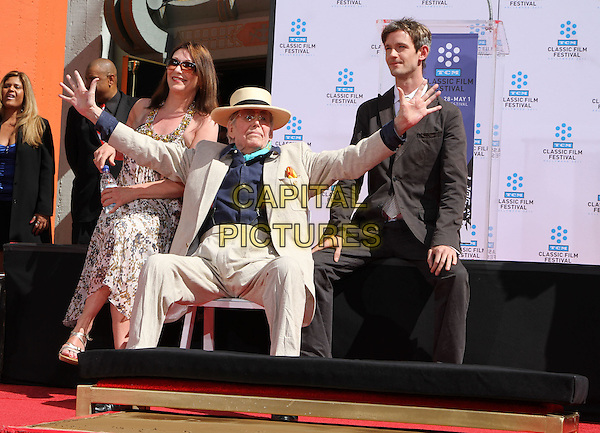 KATE O'TOOLE, PETER O'TOOLE & LORCAN O'TOOLE.TCM Classic Film Festival Honors Actor Peter O'Toole With Hand And Foot Ceremony Held At The Grauman's Chinese Theatre, Hollywood, California, USA..April 30th, 2011.full length black shirt turquoise scarf beige suit sunglasses shades black suit print dress father dad daughter son family hands arms outstretched .CAP/ADM/KB.©Kevan Brooks/AdMedia/Capital Pictures.