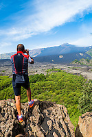 Mount Etna Volcano, tourist taking a photo, Sicily, UNESCO World Heritage Site, Italy, Europe. This is a photo of a tourist taking a photo of Mount Etna Volcano, Sicily, UNESCO World Heritage Site, Italy, Europe.