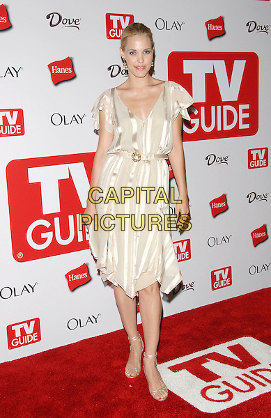 LESLIE BIBB.The 4th Annual TV Guide Post Emmy Party held at Social in Hollywood, California, USA..August 27th, 2006.Ref: DVS.full length white striped stripes dress.www.capitalpictures.com.sales@capitalpictures.com.©Debbie VanStory/Capital Pictures