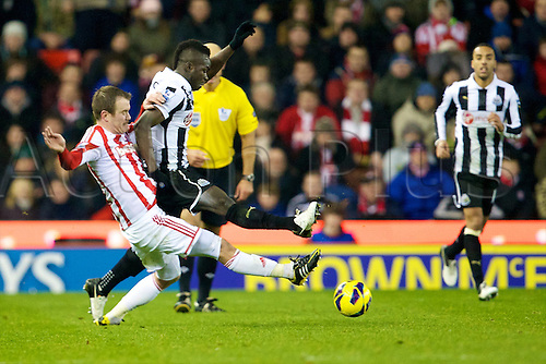 28.11.2012. Stoke, England.  Stoke City's Republic of Ireland midfielder Glenn Whelan and Newcastle United's Ivory Coast midfielder Cheick Tioté in action during the Premier League game between Stoke City and Newcastle United from the Britannia Stadium, Stoke.