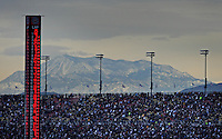 Feb 22, 2009; Fontana, CA, USA; NASCAR Sprint Cup Series fans watch from the main grandstand during the Auto Club 500 at Auto Club Speedway. Mandatory Credit: Mark J. Rebilas-
