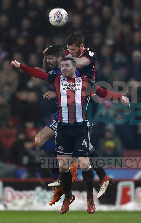 Jack O'Connell of Sheffield Utd and John Fleck of Sheffield Utd combine to beat Callum Pearson of Cardiff City during the Championship match at Bramall Lane Stadium, Sheffield. Picture date 02nd April, 2018. Picture credit should read: Simon Bellis/Sportimage