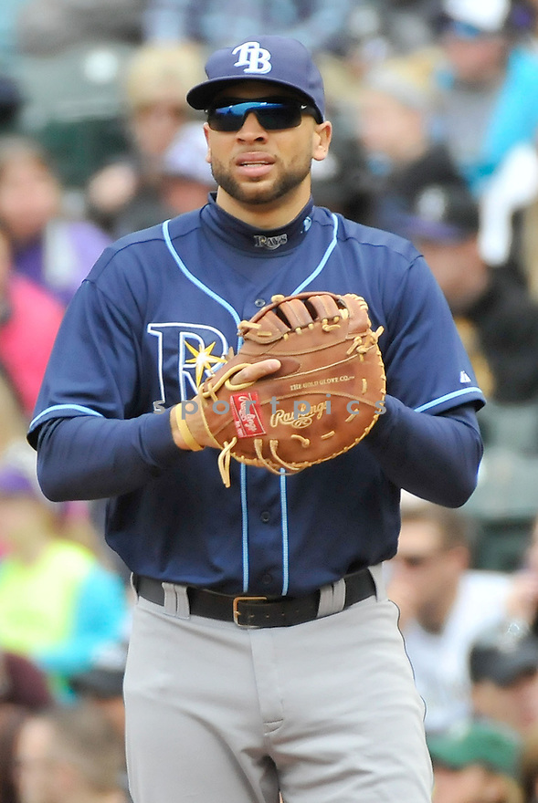 Tampa Bay Rays James Loney (21) during a game against the Colorado Rockies on May 5, 2013 at Coors Field in Denver, CO. The Rays beat the Rockies 8-3.