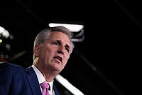 House Minority Leader Representative Kevin McCarthy, Republican of California, speaks with reporters after a press conference on Capitol Hill in Washington, DC on February 6, 2019. Credit: Alex Edelman / CNP/AdMedia