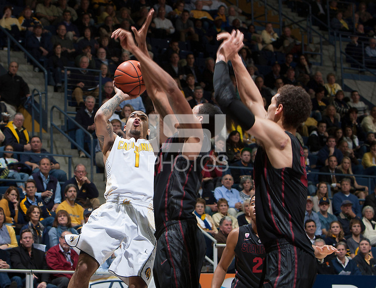Justin Cobbs of California shoots the ball during the game against Stanford at Haas Pavilion in Berkeley, California on February 5th, 2014.  Stanford defeated California, 80-69.