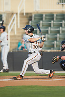 Adam Hall (10) of the Delmarva Shorebirds follows through on his swing against the Kannapolis Intimidators at Kannapolis Intimidators Stadium on June 4, 2019 in Kannapolis, North Carolina. The Intimidators defeated the Shorebirds 9-0. (Brian Westerholt/Four Seam Images)