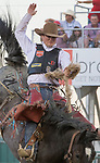 Action from the Saddle Bronc event during the Reno Rodeo in Reno, Nevada on Sunday, June 17, 2018