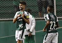 PALMIRA - COLOMBIA, 03-08-2019: Matias Cabrera del Cali celebra después de anotar el segundo gol de su equipo durante partido entre Deportivo Cali y La Equidad por la fecha 4 de la Liga Águila II 2019 jugado en el estadio Deportivo Cali de la ciudad de Palmira. / Matias Cabrera of Cali celebrates after scoring the second goal of his team during match between Deportivo Cali and La Equidad for the date 4 as part Aguila League II 2019 played at Deportivo Cali stadium in Palmira city. Photo: VizzorImage / Gabriel Aponte / Staff