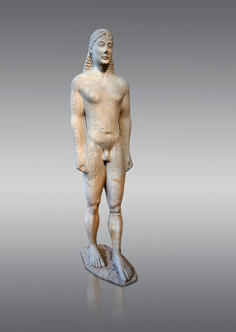 Naxian marble Ancient Greek Archaic statue of a kouros, found in Ptoan Apolla Sactuary, Boeotia, mid 6th cent BC, Athens National Archaeological Museum. Cat no 10.  Against grey.<br /> <br /> Tjhe soft modelling of the mid section of the body indicates that the statue comes from a Ctcladic workshop.