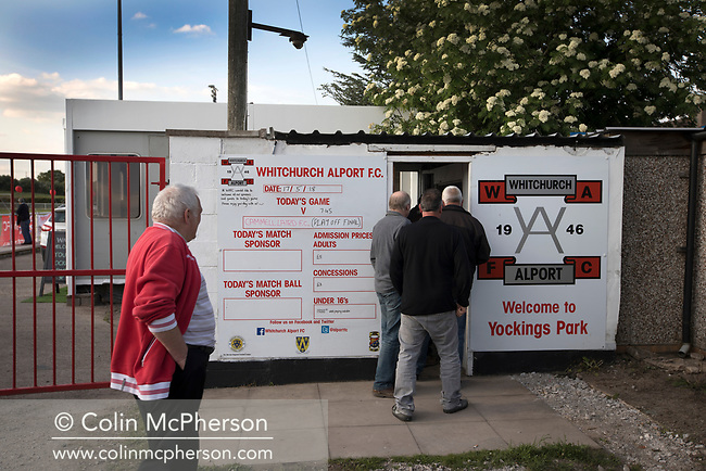 Spectators paying at the turnstile at Yockings Park before Whitchurch Alport hosted Cammell Laird 1907 in the 2017-18 North West Counties Division One play-off final. Alport were formed in 1946 and were named after Alport Farm, Whitchurch, which had been the home of a local footballer Coley Maddocks who had been killed in action in the war. The home team won the match 2-1 watched by a crowd of 773, a club record attendance.