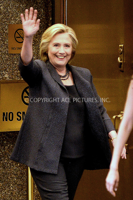 www.acepixs.com<br /> September 17, 2016 New York City<br /> <br /> Hillary Clinton leaves the Tonight Show with Jimmy Fallon on September 17, 2016 in New York City.<br /> <br /> Credit: Kristin Callahan/ACE Pictures<br /> <br /> <br /> Tel: 646 769 0430<br /> Email: info@acepixs.com