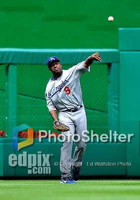 25 April 2010: Los Angeles Dodgers' outfielder Garret Anderson in action against the Washington Nationals at Nationals Park in Washington, DC. The Nationals shut out the Dodgers 1-0 to take the rubber match of their 3-game series. Mandatory Credit: Ed Wolfstein Photo