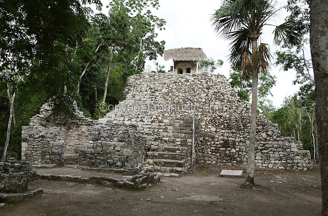 Main structure of the Paintings Group, in reference to the fragments of mural painting preserved in the interior of this building, Late Post-Classical Period (1250 ? 1550 AD), East Coast Style, Quintana Roo, Coba, Mexico. Picture by Manuel Cohen