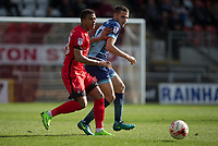 Nick Freeman of Wycombe Wanderers & Josh Koroma of Leyton Orient during the Sky Bet League 2 match between Leyton Orient and Wycombe Wanderers at the Matchroom Stadium, London, England on 1 April 2017. Photo by Andy Rowland.