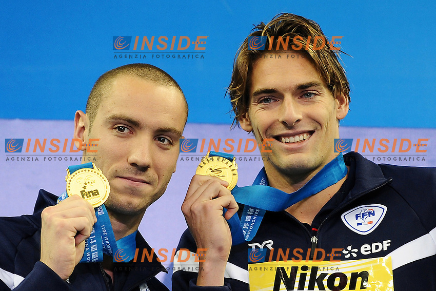 Jeremy STRAVIUS and Camille LACOURT France Gold Medal.Men's 100m Backstroke - Swimming / Nuoto.Shanghai 26/7/2011 .14th FINA World Championships.Foto Andrea Staccioli Insidefoto