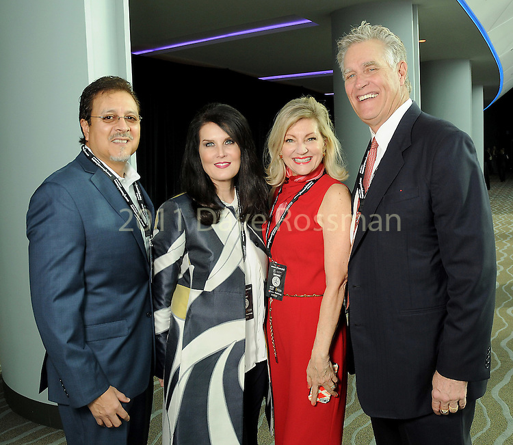 From left: Fred and Sandra Torres with Peggy and Greg Stirman at the grand-opening reception at the Smart Financial Centre in Sugar Land Saturday Jan. 14, 2017.(Dave Rossman photo)