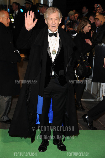"Sir Ian McKellan arriving for the premiere of ""The Hobbit: An Unexpected Journey"" at the Odeon Leicester Square, London. 12/12/2012 Picture by: Steve Vas / Featureflash"