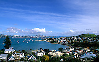 Beautiful scenic of city harbour from Davenport in Torpedo Bay in Auckland  New Zealand in South Pacific