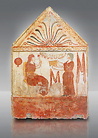 Lucanian fresco tomb painting of the deceased holding a pomegranate. Paestrum, Andriuolo. 3rd Century BC