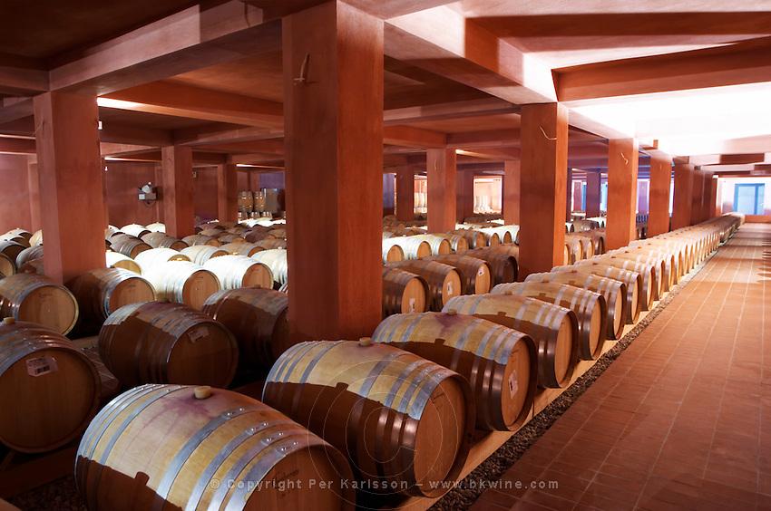 Oak barrel aging and fermentation cellar. Alpha Estate Winery, Amyndeon, Macedonia, Greece
