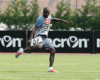 Kalidou Koulibaly <br /> ritiro precampionato Napoli Calcio a  Dimaro 23 Luglio 2014<br /> <br /> Preseason summer training of Italy soccer team  SSC Napoli  in Dimaro Italy July 23, 2014
