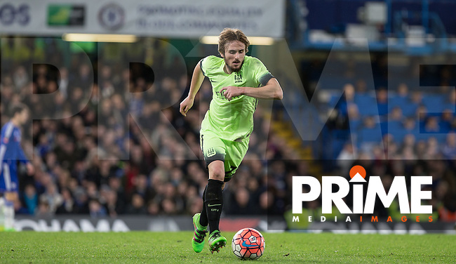 Aleix Garcia of Man City in action during the FA Cup 5th round match between Chelsea and Manchester City at Stamford Bridge, London, England on 21 February 2016. Photo by Andy Rowland.