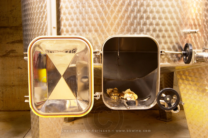 Detail of a stainless steel fermentation vat under maintenance. Domaine Gilles Robin, Les Chassis, Mercurol, Drome, Drôme, France, Europe