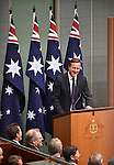 AUSTRALIA, Canberra : David Cameron Prime Minister of the United Kingdom addresses the House of Representatives at Parliament House in Canberra on November 14, 2014. AFP PHOTO / MARK GRAHAM
