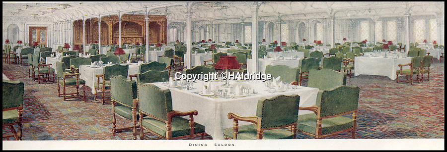 BNPS.co.uk (01202 558833)<br /> Pic: HAldridge/BNPS<br /> <br /> A dining saloon on the Titanic.<br /> <br /> A rare holiday brochure for the Titanic has surfaced after 106 years.<br /> <br /> The brochure was specifically aimed at rich first and second class passengers and contained colourful images of the most luxurious parts of the doomed liner.<br /> <br /> It walked the reader through different parts of the 'unsinkable' ship, from the opulent reception room, to the Louis XVI period designed restaurant and the promenade deck.<br /> <br /> The sumptuous state rooms that cost the equivalent of £40,000 to stay in, are featured in the fascinating brochure as is the famous grand staircase that featured heavily in the 1997 movie starring Kate Winslet.