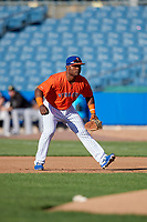 Syracuse Mets first baseman Dilson Herrera (16) during an International League game against the Charlotte Knights on June 11, 2019 at NBT Bank Stadium in Syracuse, New York.  Syracuse defeated Charlotte 15-8.  (Mike Janes/Four Seam Images)