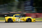 The Corvette Racing Corvette C6.R driven by Olivier Beretta and Oliver Gavin at the Acura Sports Car Challenge at Mid-Ohio, 2008.