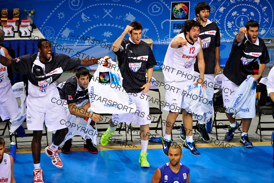 Spanish players Ibaka Serge, Fernando Reyes, Claver Victor, Llull Sergio, Rubio Ricky and San Emetrio Fernando celebrate during final Eurobasket 2011 game between Spain and France in Kaunas, Lithuania, Sunday, September 18, 2011. (photo: Pedja Milosavljevic)
