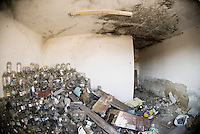 Abandoned building full of glass jars, Cesky Krumlov, Czech Republic