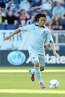 Roger Espinoza (15) Sporting KC midfielder in action... Sporting KC defeated FC Dallas 2-1 at LIVESTRONG Sporting Park, Kansas City, Kansas.
