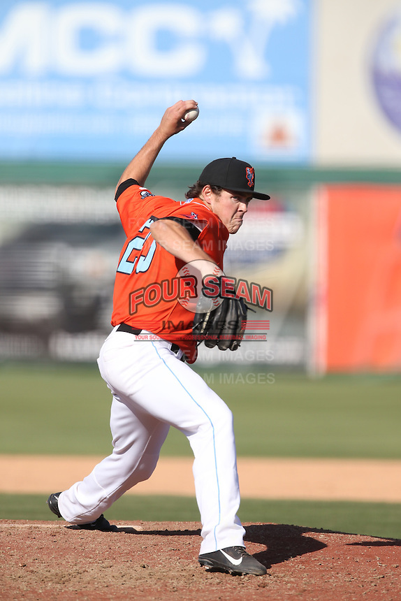Greg Mahle (23) of the Inland Empire 66ers pitches during a game against the Stockton Ports at The Hanger on April 11, 2015 in Lancaster, California. San Jose defeated Lancaster, 8-3. (Larry Goren/Four Seam Images)
