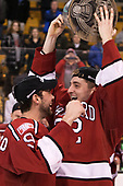 Luke Esposito (Harvard - 9), Devin Tringale (Harvard - 22) - The Harvard University Crimson defeated the Boston University Terriers 6-3 (EN) to win the 2017 Beanpot on Monday, February 13, 2017, at TD Garden in Boston, Massachusetts.