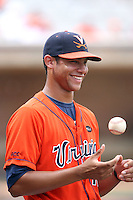 Branden Kline of the Virginia Cavaliers playing in Game Two of the NCAA Super Regional tournament against the Oklahoma Sooners at Charlottesville, VA - 06/13/2010. Oklahoma defeated Virginia, 10-7, to tie the series after two games.  Photo By Bill Mitchell / Four Seam Images
