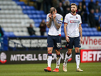 Bolton Wanderers' David Wheater and Mark Beevers pictured at the end of the match<br /> <br /> Photographer Andrew Kearns/CameraSport<br /> <br /> The EFL Sky Bet Championship - Bolton Wanderers v Norwich City - Saturday 16th February 2019 - University of Bolton Stadium - Bolton<br /> <br /> World Copyright © 2019 CameraSport. All rights reserved. 43 Linden Ave. Countesthorpe. Leicester. England. LE8 5PG - Tel: +44 (0) 116 277 4147 - admin@camerasport.com - www.camerasport.com