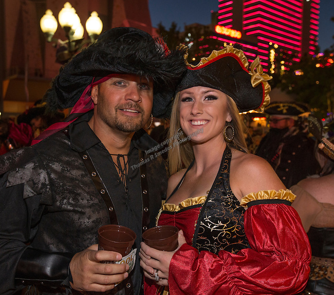Jason and Amy during the Pirate Crawl held in downtown Reno on Saturday night, August 13, 2016.