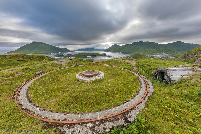 Panama mount on Bunker Hill, Amaknak Island, part of the iron ring of defense to protect Dutch Harbor during the world war II Aleutian campagin, Alaska.