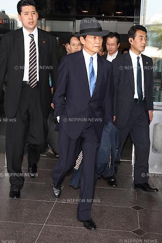 May 12, 2013, Tokyo, Japan: Japanese Minister of Finance Taro Aso at Narita International Airport, returning from G7 in UK. (Photo by Mooto Naka/AFLO)